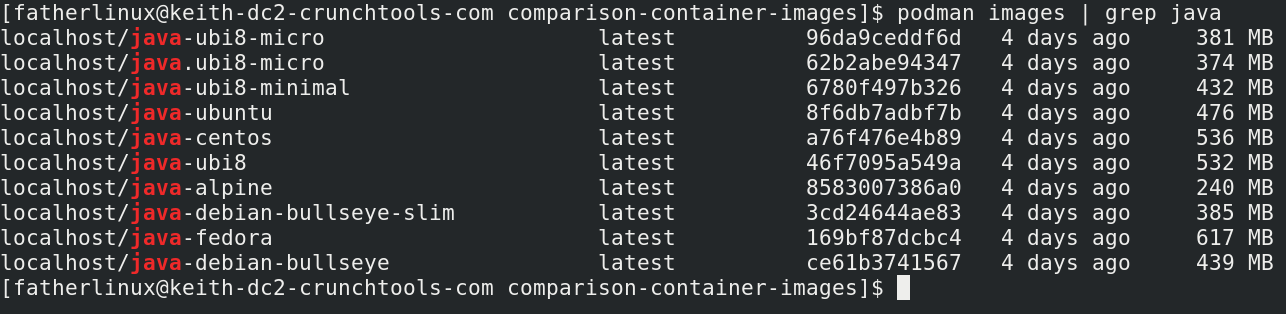 A Comparison of Linux Container Images